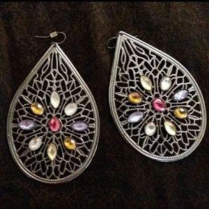 Silver Toned Filigree Rhinestone Teardrop Earrings